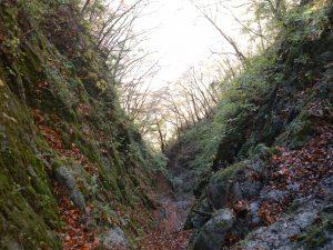オオタギリキレットの最下部から小川谷廊下方面を望む