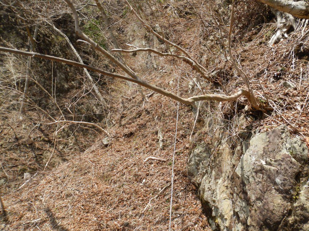 テラスから登った先に固定ロープがある
